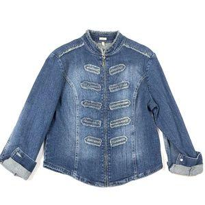 Reba S Denim Jacket Jean Zip Stretch Frayed 3/4